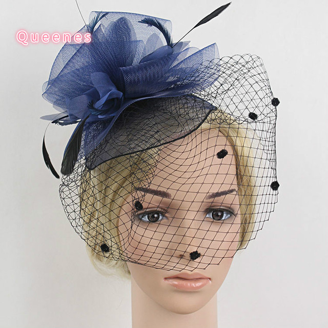 Dotted Net Mesh Top Fascinator Hat For Girls Navy Pink Blue Flower Feather  Hair Clip Fancy Show Wedding Bride Hair Accessories 3f646ccf455