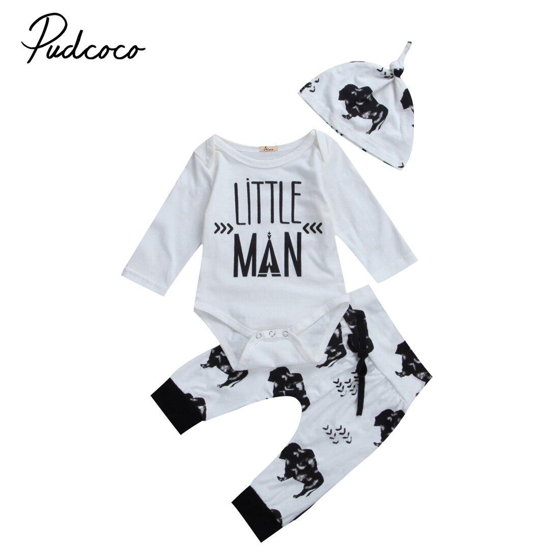 Newborn Infant Baby Boys 3PCS Print Clothes Cotton Romper + Pants Legging Hats Outfits Set