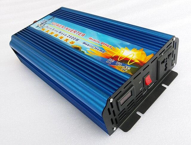 Pure Sine wave Solar Inverter 2.5KW 2500W 12V/24V DC input to 120V/220V AC output 50Hz/60Hz Digital Display Inverter