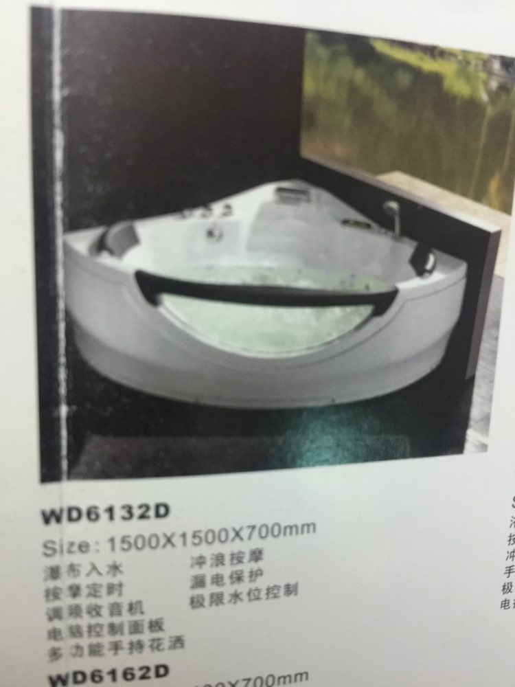 Wall Corner Fiber Glass Acrylic Whirlpool Bathtub Triangular Hydromassage Tub Nozzles Spary Jets Spa RS6132D