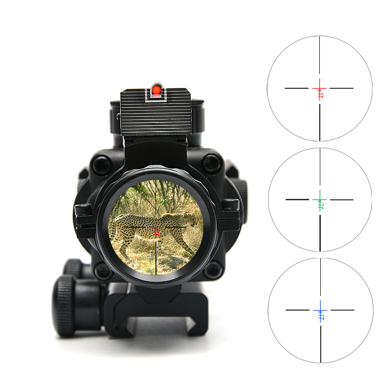 4X32 Tactical Optical Riflescope Red&Green&Blue W/ Tri-Illuminated Reticle Fiber Rifle Scope For Hunting Scopes Caza hot sale 2 5 10x40 riflescope illuminated tactical riflescope with red laser scope hunting scope