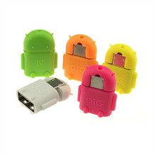 Robot Micro USB To usb2.0 OTG Adapter Converter connect to USB/Mouse/Keyboard for Android Phone Tablet Drop Shipping