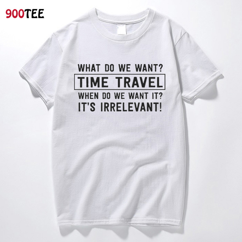 Fashion Men T-shirt Letter Time Travel Printed Funny T Shirt Male Short Sleeve O Neck Summrt Tops New Loose Fit Tshirt Plus Size