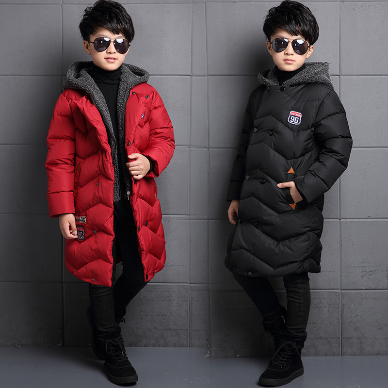 Big Boys Winter Jackets Thicken Hooded Cotton Coats Boys Warm Long Parkas Teenage Boys Outerwear 6 8 10 12 16 Years Child Tops women winter coat leisure big yards hooded fur collar jacket thick warm cotton parkas new style female students overcoat ok238