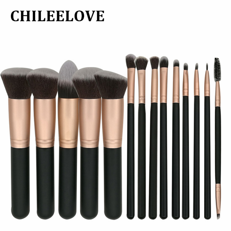 CHILEELOVE 14 Pcs/Set Golden Base Cosmetics Makeover Makeup Brushes Kit For Foundation Blending Blush Eyeshadow Cosmetic Tool manuscript makeover