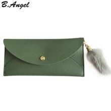 купить Women envelope wallet with hairy pendant girls ladies long design hasp wallet women leather wallet coin purse hot clutch purse по цене 528.87 рублей