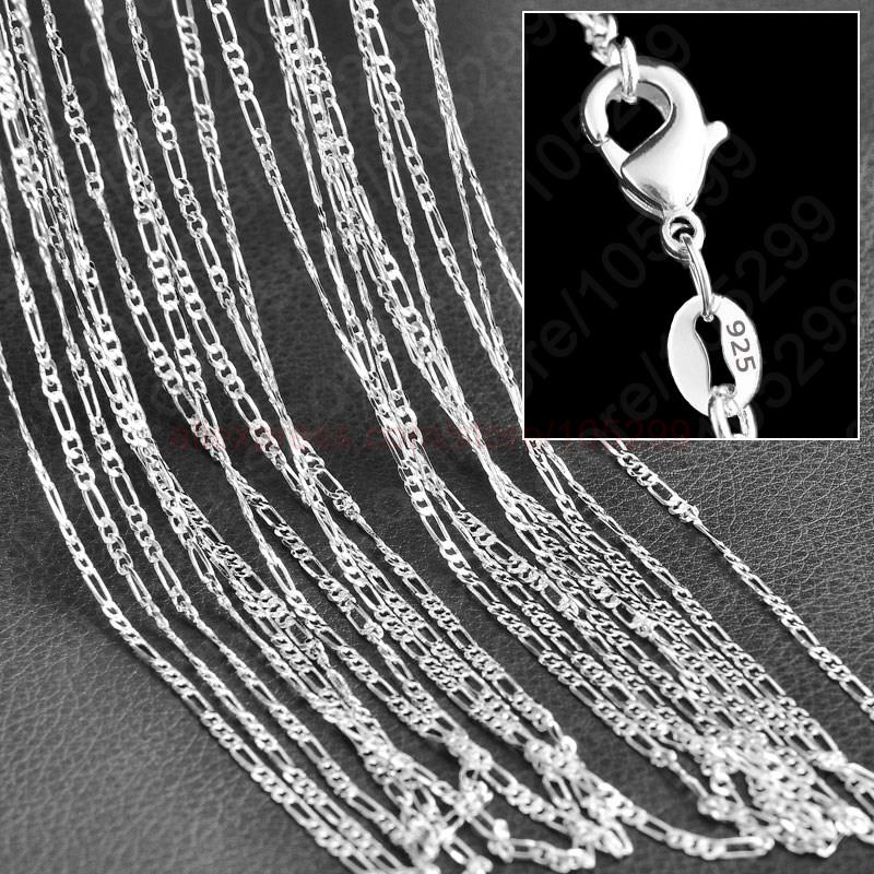 Wholesale 10PCS Lot Figaro Chain 925 Sterling Silver Jewelry Necklace Chains+Lobster Clasps Size 16,18,20,22,24,26,28,30