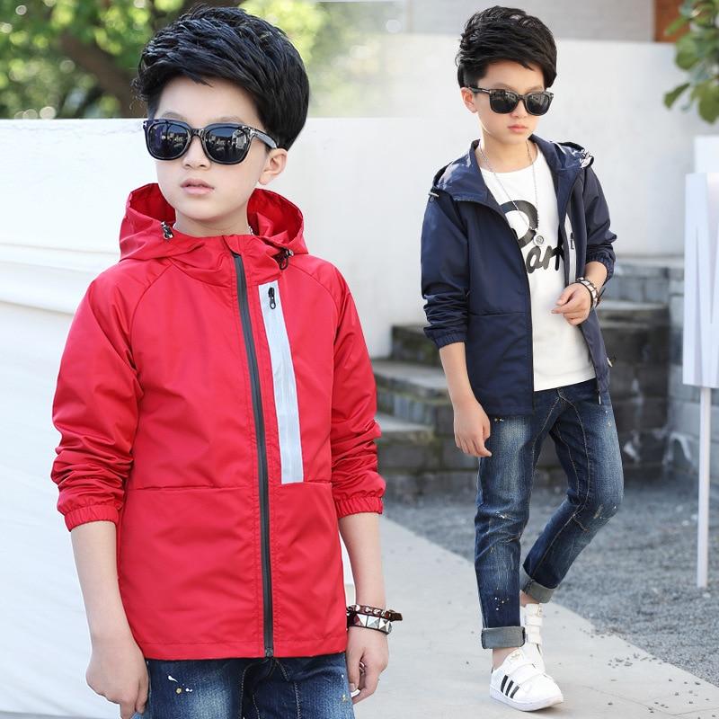 Весенне осенняя куртка для мальчиков 2018 г. Новая детская одежда ветрозащитные куртки на молнии с капюшоном для мальчиков короткая ветровка для больших мальчиков