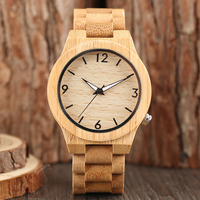 2017 New Arrival Men's Full Hand made Bamboo Design Quartz Wristwatch Braclet Clasp Simple Casual Male Watch Reloj masculino|Quartz Watches|Watches -