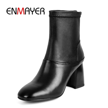 ENMAYER  Genuine Leather  Ankle  Zip  Square Toe  Snow Boots Women  Women Shoes  Botas Mujer Invierno  Size 34-39 ZYL1819