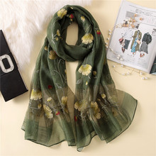 купить New silk wool scarf women fashion floral embroidery shawl wrap high quality pashmina winter neck scarf bandana face mask hijab дешево