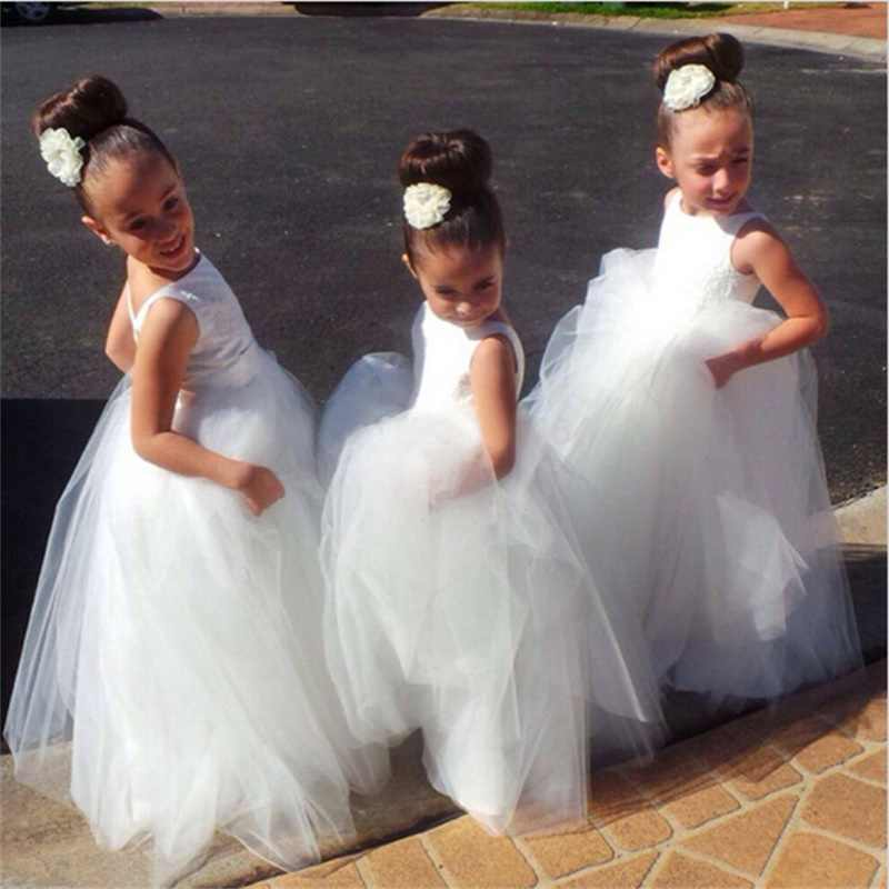 Lovely Flower Girl Dresses V Back Tulle Satin Little Girls Kids