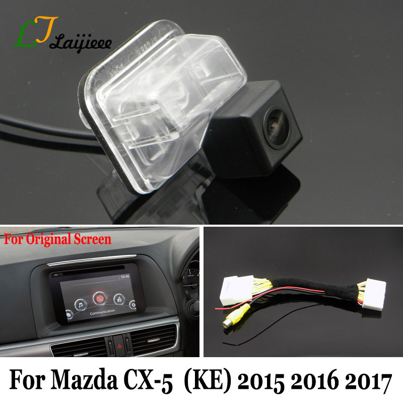 6V Backup Camera & 28 Pin Adapter Cable For <font><b>Mazda</b></font> <font><b>CX</b></font>-<font><b>5</b></font> CX5 <font><b>CX</b></font> <font><b>5</b></font> 2015 <font><b>2016</b></font> 2017 OEM Monitor Compatible Rearview Camera image