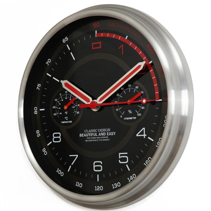 Horloge murale moderne en métal thermomètre hygromètre Auto Pow patrouille Guess montre montres mécanisme Relogio Parede cadeau d'anniversaire 50ZB35 - 2