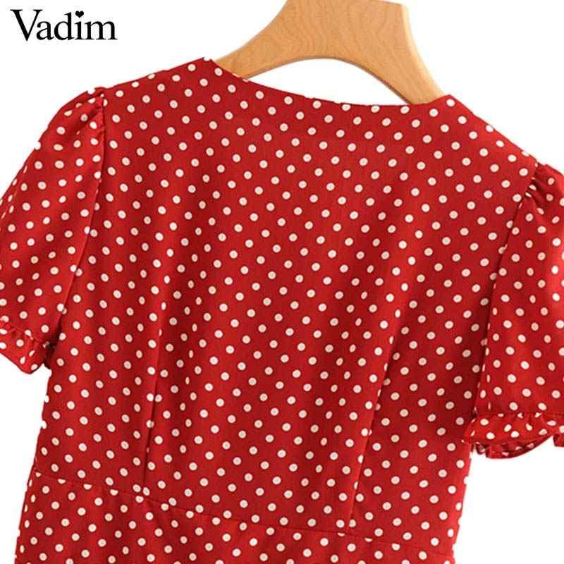 Vadim נשים מתוק פרע דוט דפוס שמלת V צוואר קצר שרוול קפלים גבירותיי קיץ חמוד מיני שמלות vestidos QA327