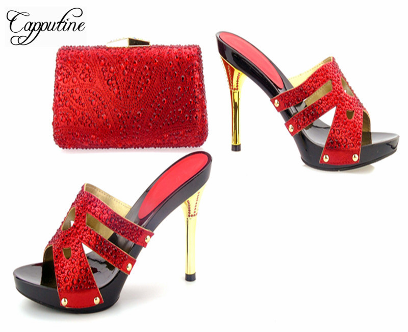 Capputine New Fashion Crystal Thin Heels Shoes And Bag Set Nigerian Style Woman Pumps Shoes And Matching Bag Set For Party capputine african style crystal shoes and matching bag set for party fashion women pumps slipper shoes and bags set size 37 43