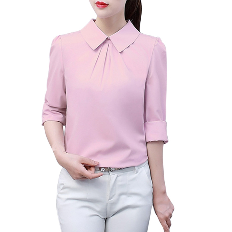 Summer Top Shirts Fungus Collar Cross Long Sleeve Shirt Female White Office Blouse Lady Blusas Femininas