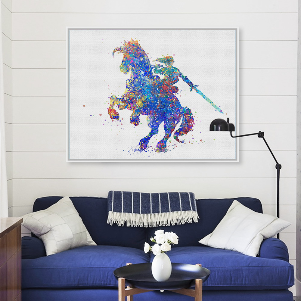 Modern Watercolor Japanese Games Posters Prints Abstract Hero Boy Kids Room Decor Horse Sword Wall Art Pictures Canvas Paintings