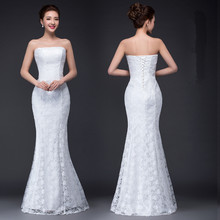 DM2670B#2017 spring summer new fish waist slim lace up tail sexy slim bride toast wedding dress Wholesale cheap gown dress white