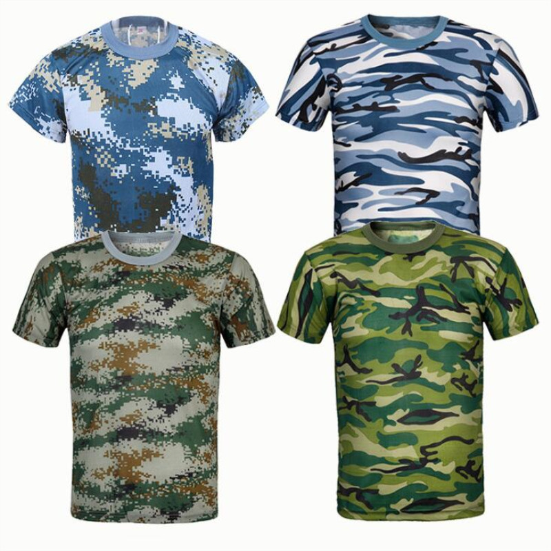 New Camouflage T-shirt Men Breathable Army Tactical Combat T Shirt Military Dry Camo Camp Green Outdoor T-shirt Of Men