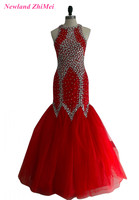Great Design Red Mermaid Woman Formal Party Dress Hot Crystals Floor Length Tulle Prom Dresses vestido formatura longo