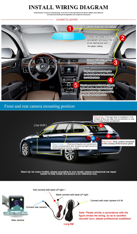 Jansite Car DVR Camera Review Mirror FHD 1080P Video Recorder Night Vision Dash Cam Parking Monitor Auto Registrar Dual Lens DVR 23
