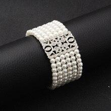 SLBRIDAL, Винтажный серебряный прозрачный Кристальный свадебный браслет, стразы, жемчуг, Свадебный растягивающийся браслет, браслет для подружек невесты, женский