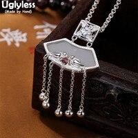 Uglyless Real Solid 925 Sterling Silver Handmade LOVE Birds Pendants for Women Ethnic Balls Tassel Fine Jewelry Jade Necklaces