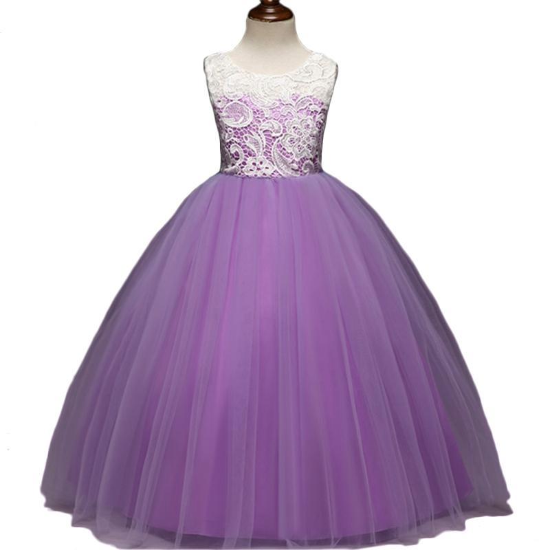 Flower Girl Dress Long Dress Ball Gown for Wedding Gown Voile Pink ...