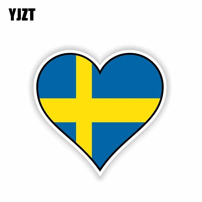 YJZT 12.5CM*11.5CM Accessories SWEDEN Flag Heart Decal Motorcycle Car Sticker 6-1642