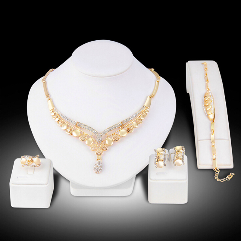 New African Wedding Jewelry Dubai Gold Color Jewelry Sets Romantic Color Design Jewelry Sets Necklace
