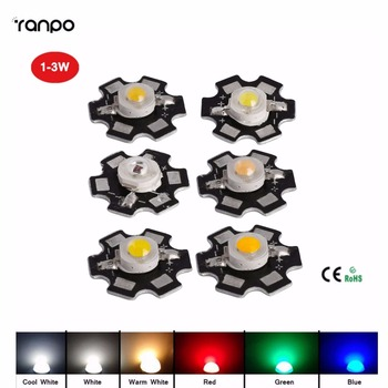 20PCS/Lot High Power Spotlight Bulb 1W/3W With PCB Led Chips Bulb Diode Lamp Warm/Cool/Green/Red/Yellow/White/Blue Lighting фото