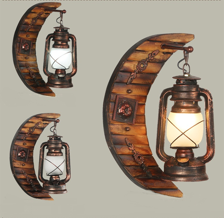 American Country Living Room Lights Wall Style Antique Vintage Lantern Lamps Personality Bedroom Bedside Lamp In From
