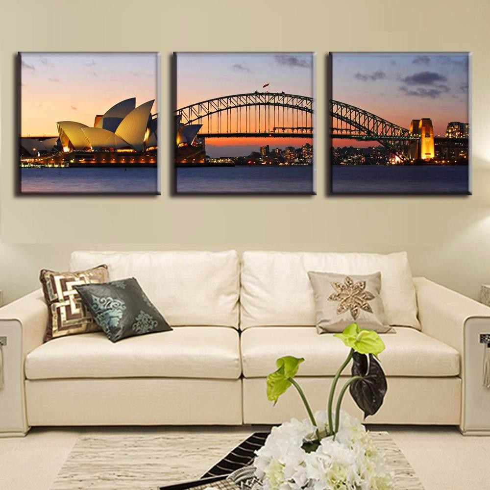 3 Panels Sydney Opera House Wall Art Picture Home Decoration Living ...