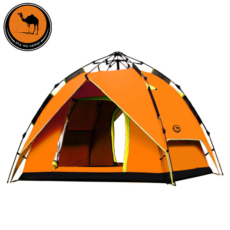 New double layer 3 4 people camping rainproof automatic hydraulic tent