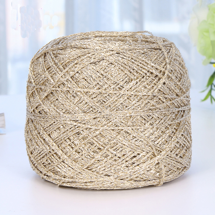 Hot 1 balls/lot 90g natural hard Golden cotton yarn thin mixed yarn  wholesale Shinny thread 200 meters