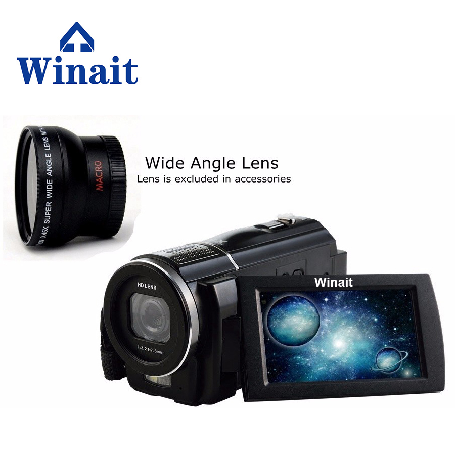 Winait 2017 popular HDV-F5 digital video camera with full hd 1080p Built-in Speakers Electronic shutter max 24mp winait electronic image stabilization hdv z8 digital video camera with recording function touch screen