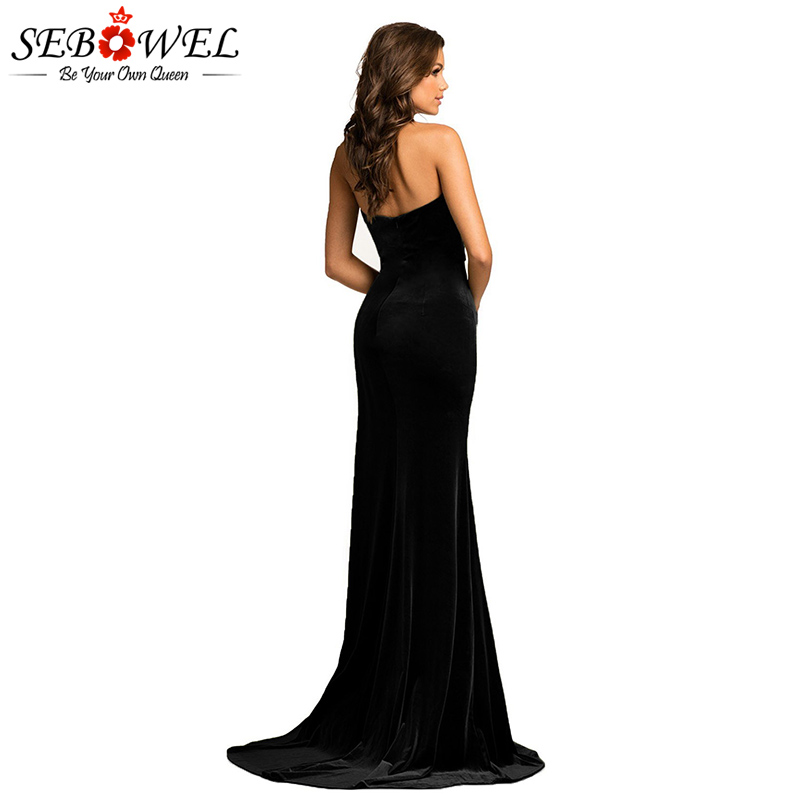 Black-Thigh-High-Split-Velvet-Evening-Gown-LC610993-2-2