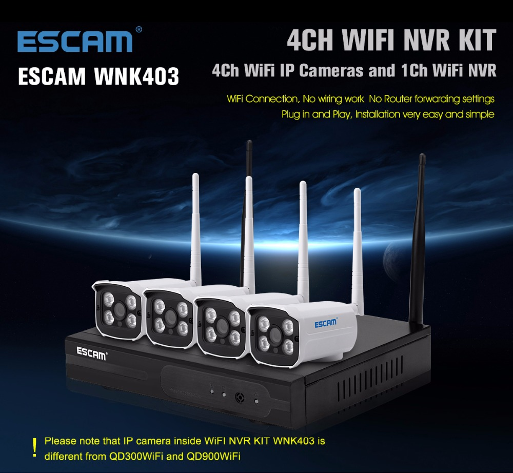 ESCAM WNK403 4CH Wireless NVR Kit 4PCS 720P IR Cut Night Vision WIFI IP Camera Outdoor Security Monitor CCTV Surveillance System 4 pcs 1080p wireless ip camera 1pcs 8ch nvr kit