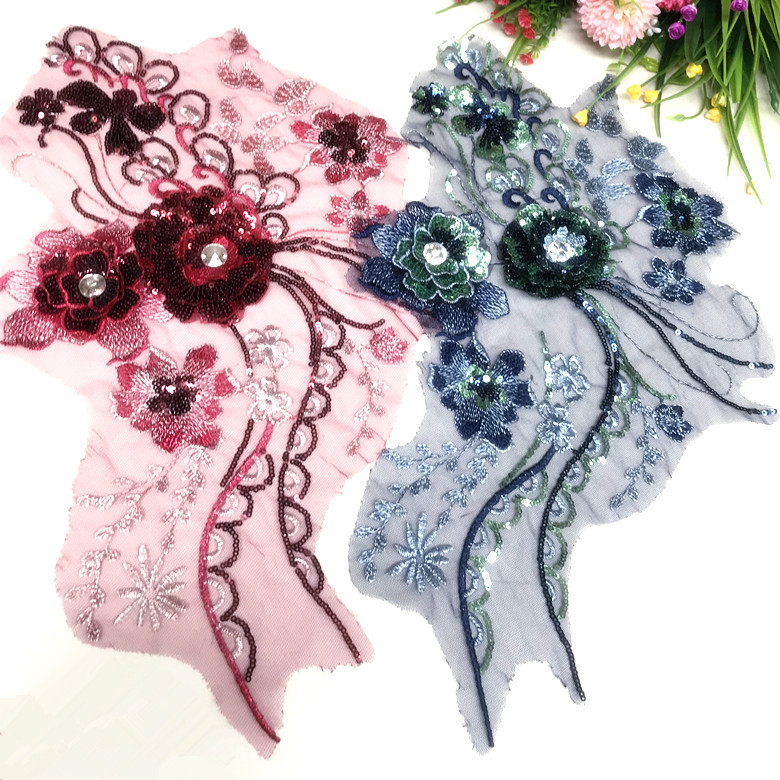 Three-dimensional Sequined Flower Accessories Dress, Three-dimensional Embroidery Nail, Pearl Lace Flower Lace Accessories