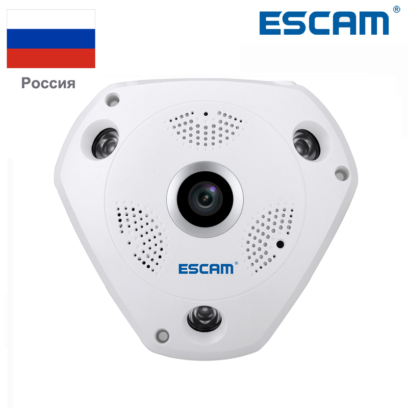 цена на ESCAM shark QP180 HD 960P H2.64 1.3MP 360 degree panoramic fisheye infrared camera VR camera support VR box and two way talk