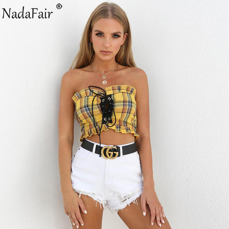 Nadafair Off Shoulder Backless Lace up Plaid Crop Tops Women Summer Casual Ruched Camis