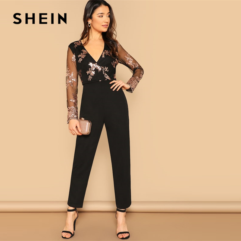 SHEIN Black Contrast Mesh Sleeve Sequin Detail Wrap Front Jumpsuit Women 2019 Summer Highstreet Club Solid Bodycon Jumpsuits 1