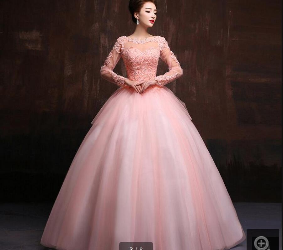 New design ball gown pink lace long sleeve prom dress tiered ...
