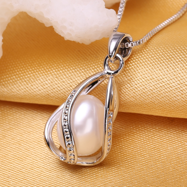 FENASY Pearl Jewelry Natural Pearl Pendant Cage Necklace Party Fashion Style Freshwater Pearl Silver Necklace Pendant *32365330722