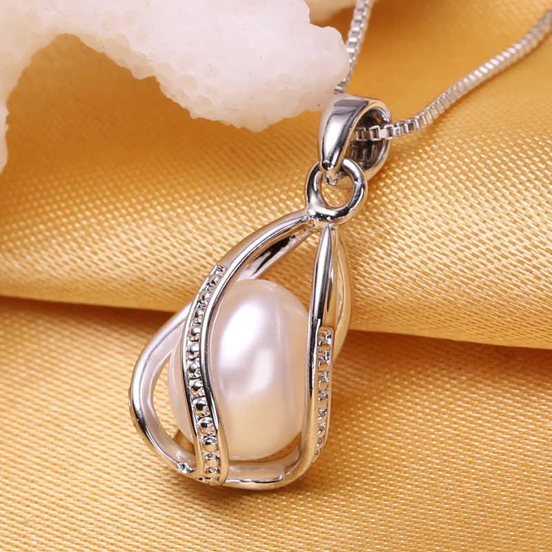 FENASY เครื่องประดับไข่มุกธรรมชาติ Pearl จี้สร้อยคอแฟชั่นไข่มุกน้ำจืดเงินสร้อยคอจี้,ของขวัญกล่อง