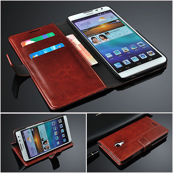 more photos a41ab f01ee US $6.99 |Huawei Ascend Mate 2 Case,Flip Leather Case with Card Slots  Holder Retro Wallet Real Genuine Leather Case For Huawei Mate 2 on ...