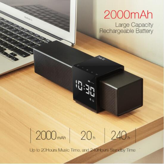HAVIT M28 Portable Bluetooth V4 1 Speaker 3D Stereo Wireless Speaker Audio Player with Time Display Clock Alarm Clock in Portable Speakers from Consumer Electronics
