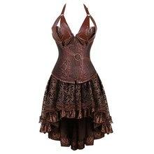 Женское платье корсет, черный, коричневый корсет из искусственной кожи на молнии с юбкой, готический, панк, бурлеск, пират