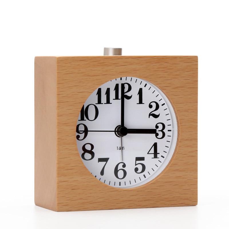 Small wood alarm clock needle creative mute night light lazy snooze alarm clock for students children bedroom personality clock